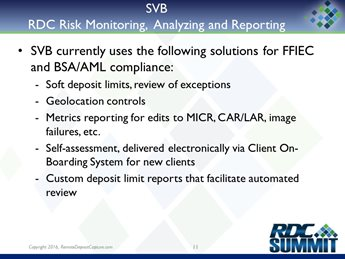 FI Panel Presentation: RDC Risk Monitoring, Analyzing and Reporting – Developing a Comprehensive Approach